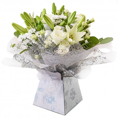 White and Cream Hand Tied arrangement